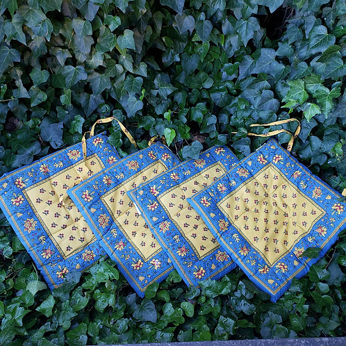 Set of 4 Blue & Yellow French Country Provence Seat Covers