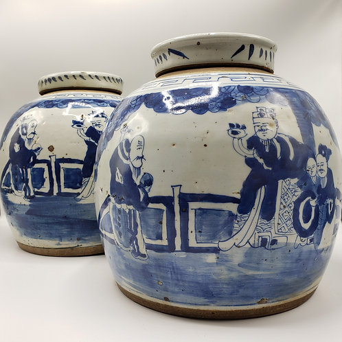 Pair of Chinese Blue and White Lidded Jars
