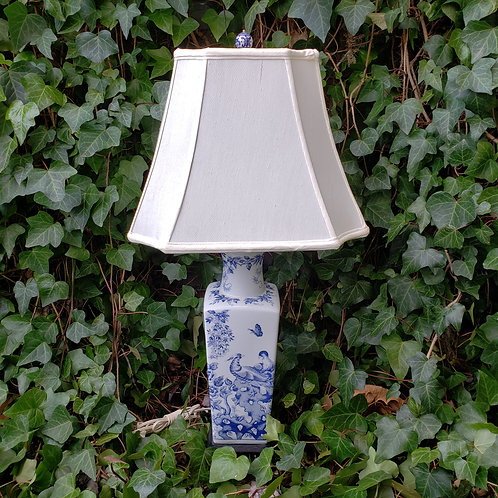 Blue & White Porcelain Lamp with Shade