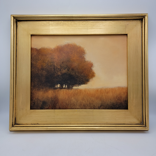 Decorator Plein Air Style Oil Painting of Tree on Canvas in Gold Frame