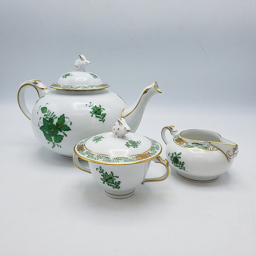 Herend Chinese Bouquet Green Tea Set with Bunny Finial