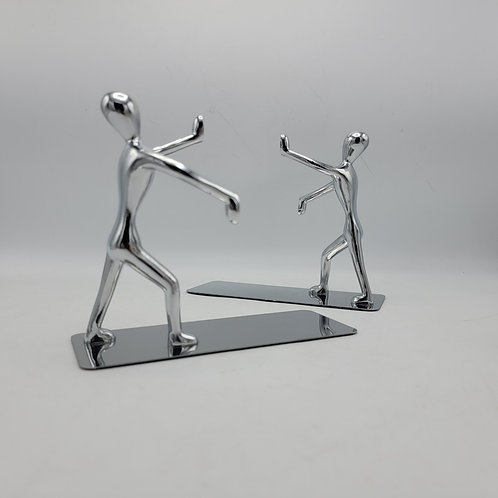 Decorator Chrome Pushing People Bookends