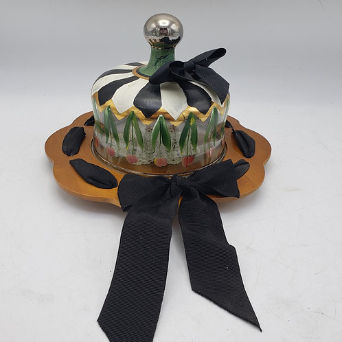 MacKenzie-Childs Tulips Glass Cheese Dome with Wooden Charger & Ribbon