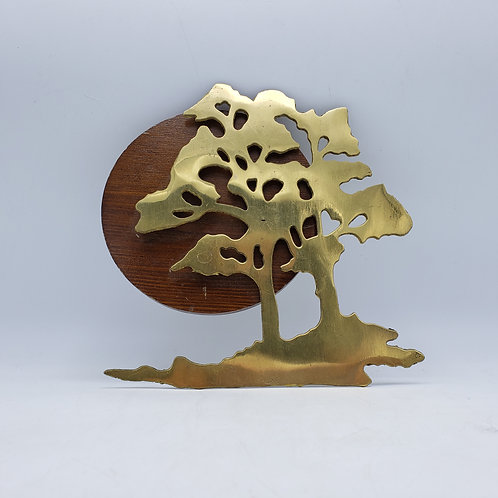 MCM Brass Tree Wall Hanging with Wooden Accent