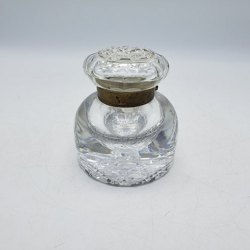 Antique Crystal & Brass Inkwell