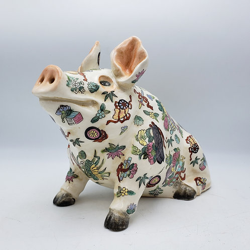 Maitland Smith Porcelain Pig Flower Frog - Large Size