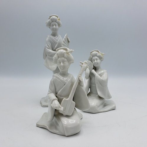 Set of 3 Fitz and Floyd Blanc De Chine Asian Musician Figures