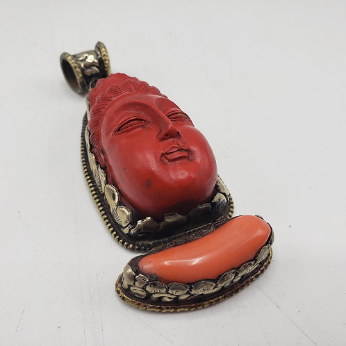 Large Red Cinnabar Pendent with Face
