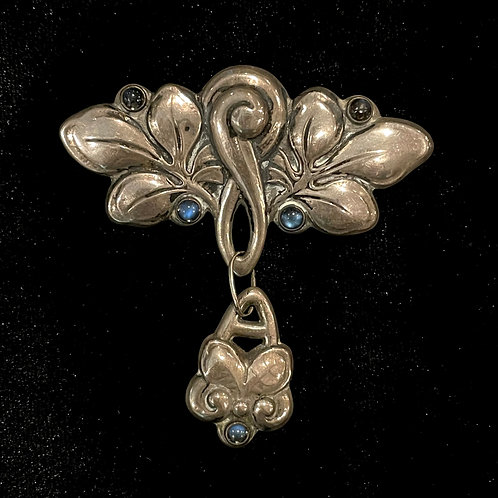 Vintage Danish HF 830 Sterling Silver Drop Pin with Blue Stones