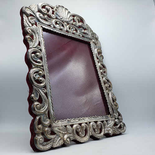 Monumental Antique Sterling Silver Frame with Scrolling Details 9x12