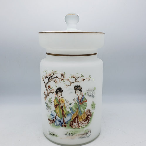 Beautiful Hand Painted Satin Glass Lidded Jar with Asian Theme