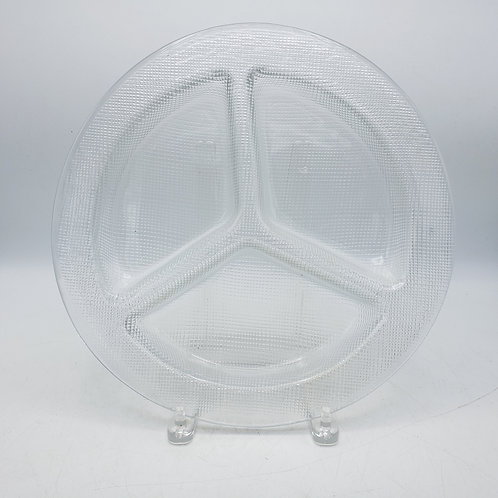 Three Way Divided Glass Tray with Texture