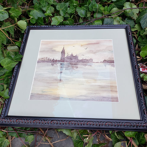 Signed Watercolor Artwork of City & Water