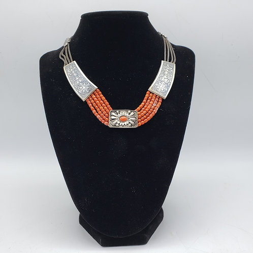 Vintage 900 Silver Etched Necklace with Coral Beads