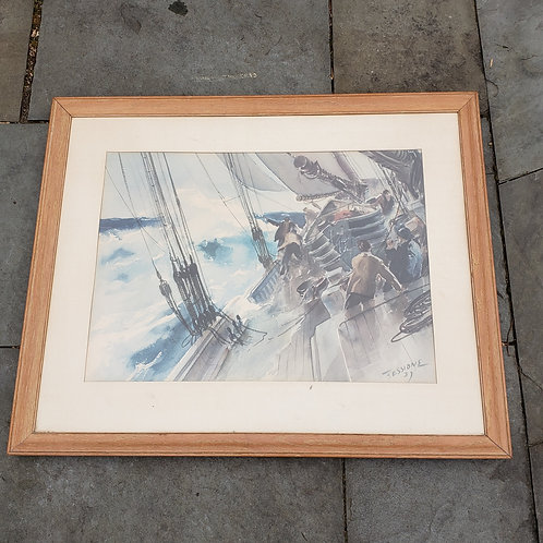 Watercolor Artwork of Ship by James Milton Sessions