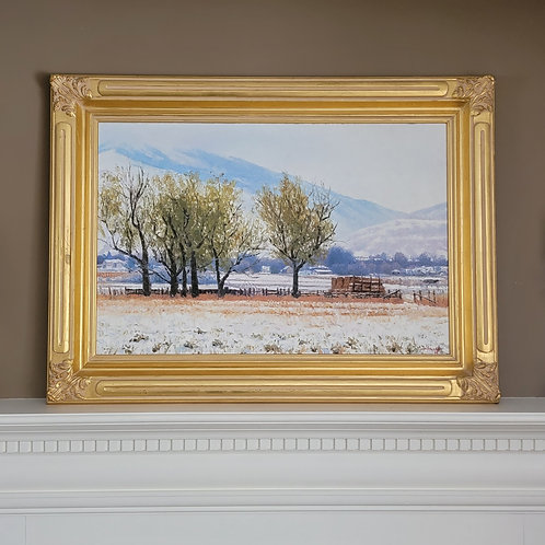 """Douglas Aagard 24"""" x 36"""" Original Painting of Early Morning Snow Landscape"""