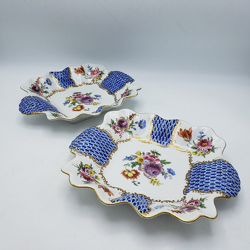 Pair of Hand Painted Dishes / Bowls with Flowers and Blue Fishnet