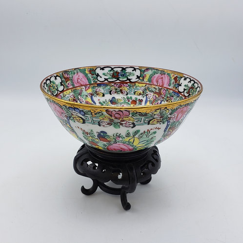 Small Rose Medallion Asian Bowl on Wooden Stand