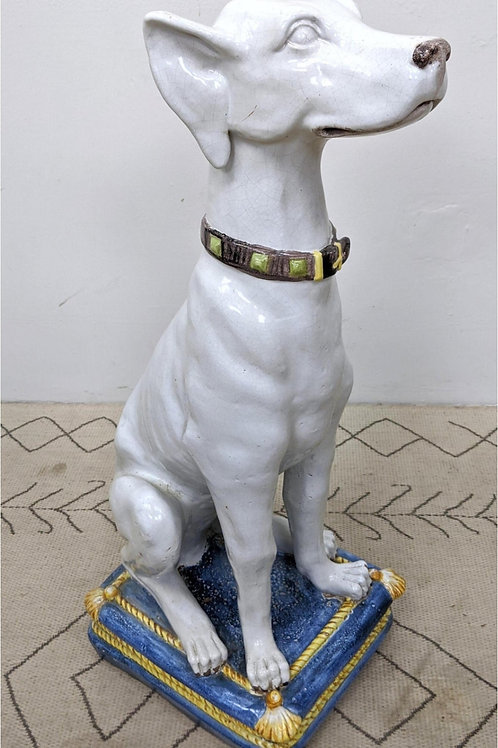 "43"" Tall Italian Glazed Pottert Dog Sculpture"