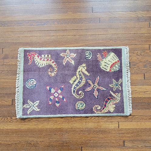 Very Fun 2' x 3' Hand Knotted Wool Beach Themed Rug
