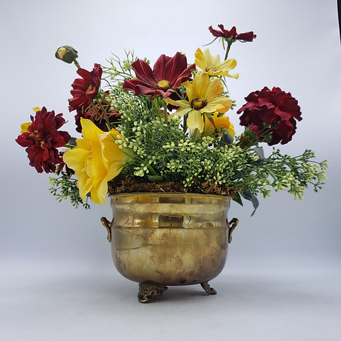 Faux Red & Yellow Flower Arrangement in Footed Brass Pot
