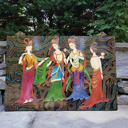 Large Lacquered Wooden Plaque with Women