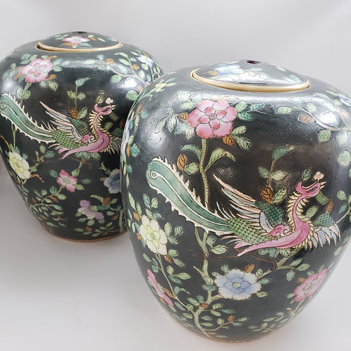 Pair of Antique Ginger Jars with Hand Painted Design - Drilled for Lamps