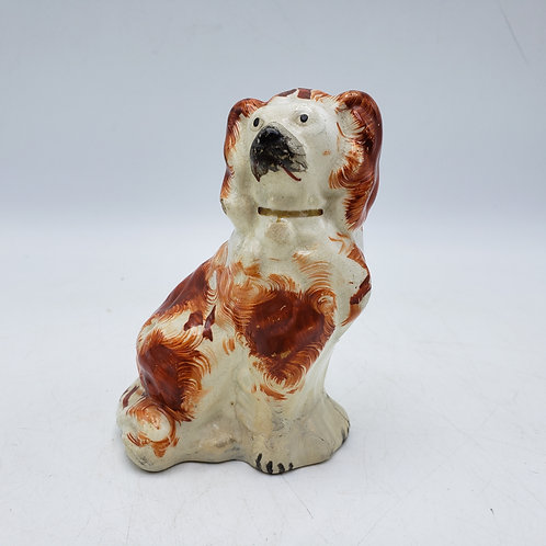 Miniature Hand Painted Staffordshire Style Dog Reddish / Brown Spots