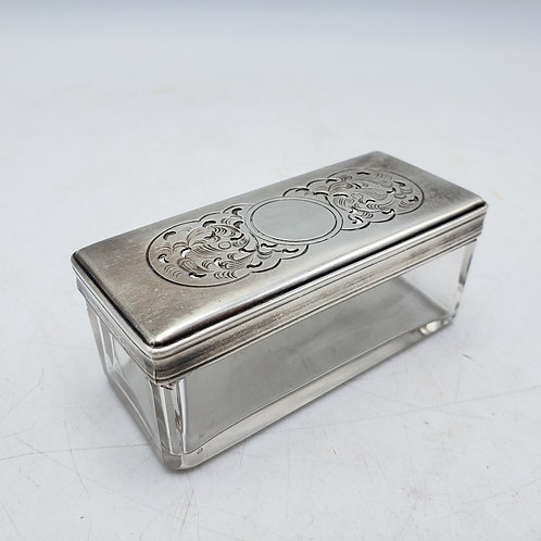 Small Vintage Rectangular Glass Vanity Box with Silverplate Lid with Holes