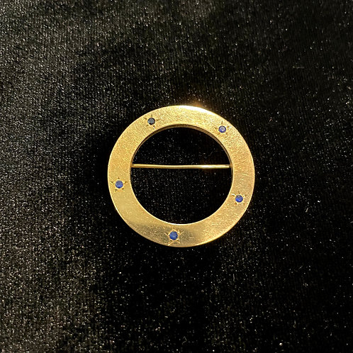 Vintage Gold Filled Circle Pin with Blue Stones