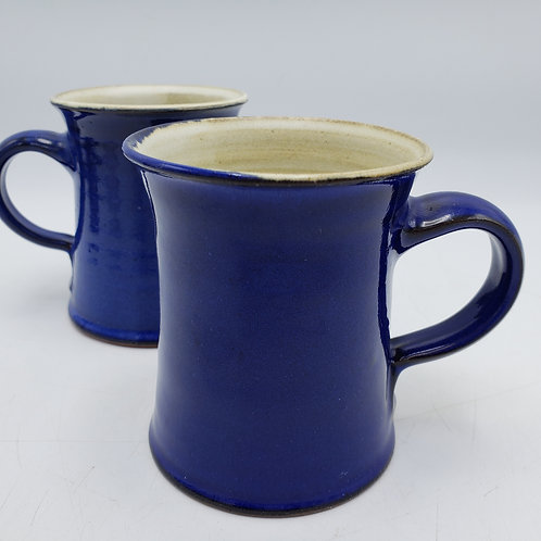 Pair of Signed Blue Pottery Art Mugs