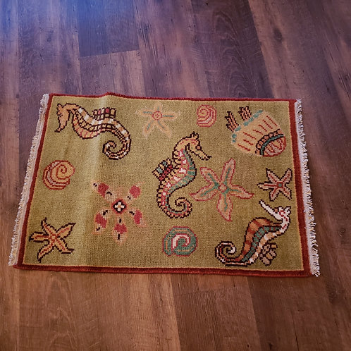 Handknotted 100% Wool Green Rug with Sea Life