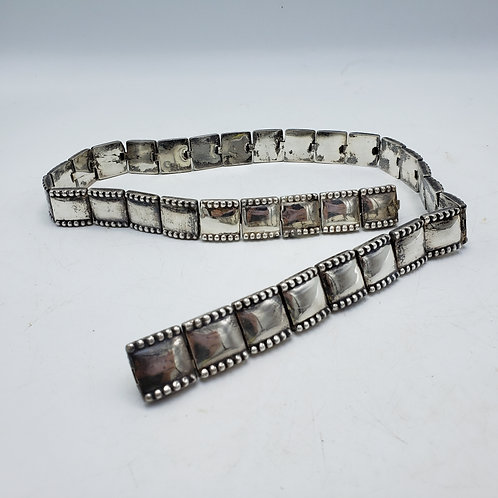 Vintage Mexican Sterling Silver Hand Wrought Belt Size 26