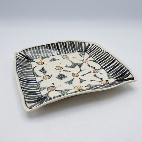 Signed Studio Pottery Handpainted Tray