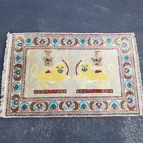 """100% Wool Hand Knotted Yellow Lion Rug, 37"""" x 24"""""""