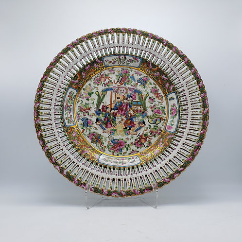 Decorator Wong Lee Large Reticulated Rose Medallion Charger Plate