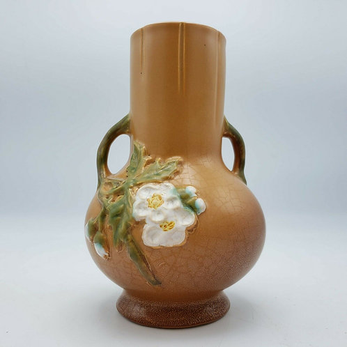 Vintage Weller Pottery Dogwood Floral Double Handled Vase