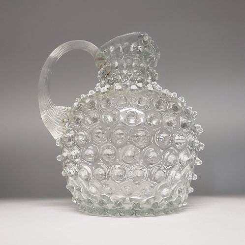Vintage Clear Glass Hobnail Water Pitcher