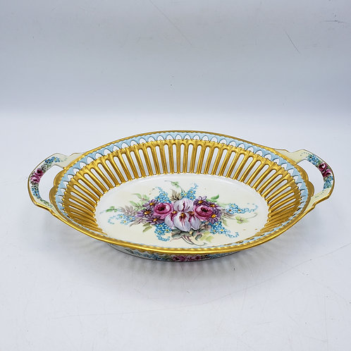 Vintage Bavarian Porcelain Reticulated Dish with Handle