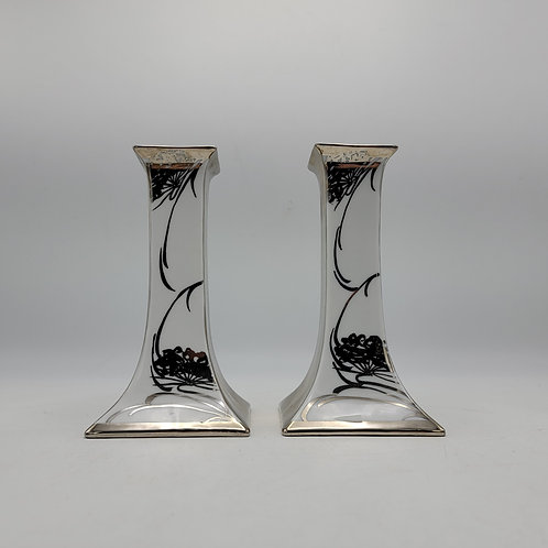 Vintage Pair of Epiag White & Silver Lustre Candlesticks Made in Czechoslovakia