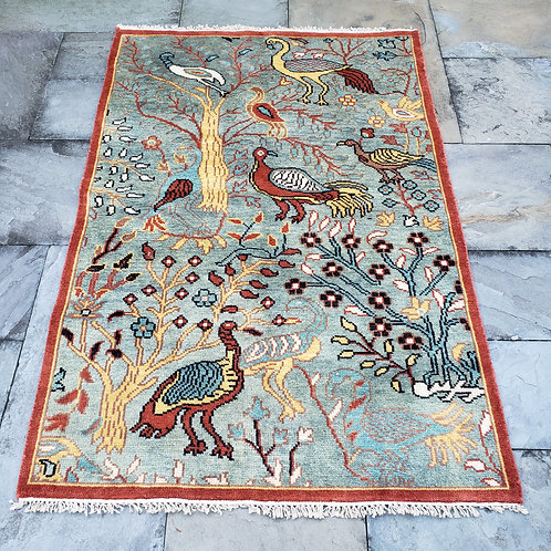 """Hand Knotted 100% Wool Light Blue Rug with Birds ~ 4' x 5'11"""""""
