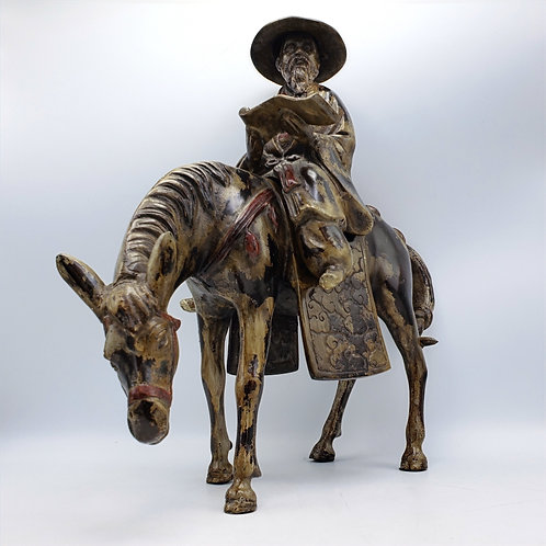 Large Heavy 2 Piece Metal Figure of Asian Man with Beard on Horse