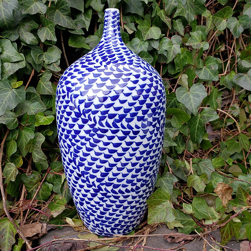 Blue and White Asian Porcelain Vase with Narrow Top