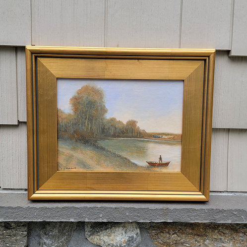 Decorator Oil Painting on Board  of Landscape with Boat