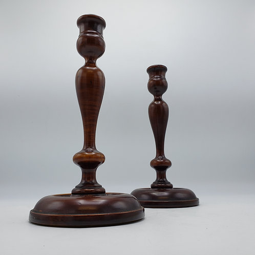 Pair of Antique Wooden Candlesticks