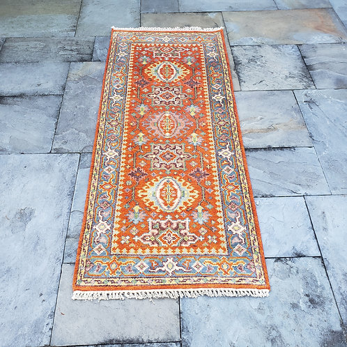 """Hand Knotted 100% Wool Orange Runner Rug with Pink Medallion~ 2'6"""" x 6'"""