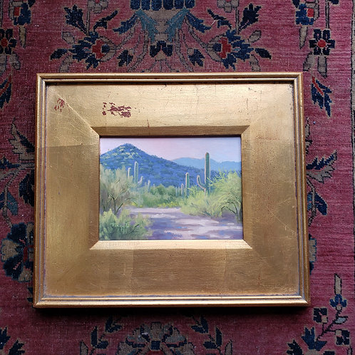 Southwestern Landscape Painting on Board by Mary Beth Pizzoli Cactus & Mountain