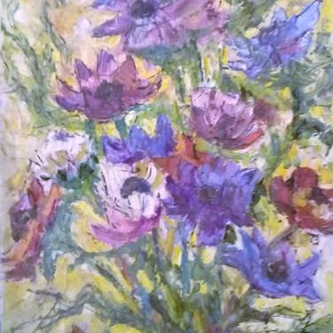 Violet flowers - Oil