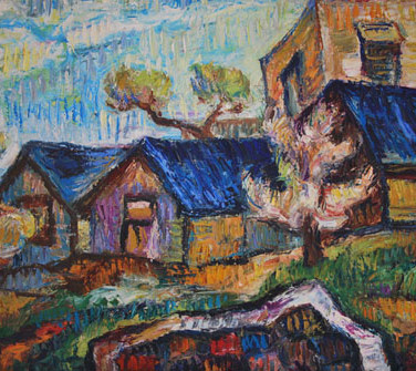 Blue house roofs - OIL ON CANVAS 50 x
