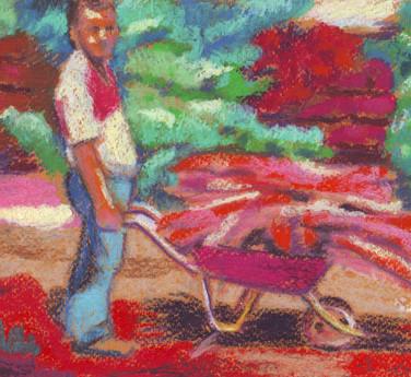 Issa, in the farm - Pastel